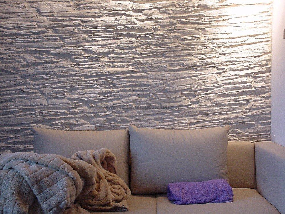 wandgestaltung wohnzimmer stein - wasserbett 2017