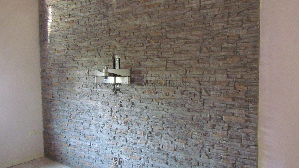 mediterrane wandgestaltung im wohnzimmer mit der kunststeinpaneele, Wohnzimmer