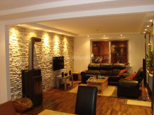Lovely Mediterrane Wandgestaltung Im Wohnzimmer Mit Kunststeinpaneele Nice Design