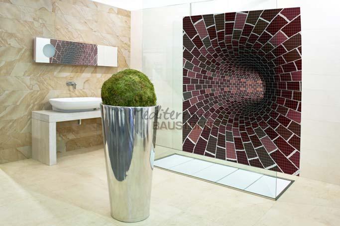 kreative wandgestaltung mit mosaik fliesen in 3d-tiefenwirkung, Wohnzimmer dekoo