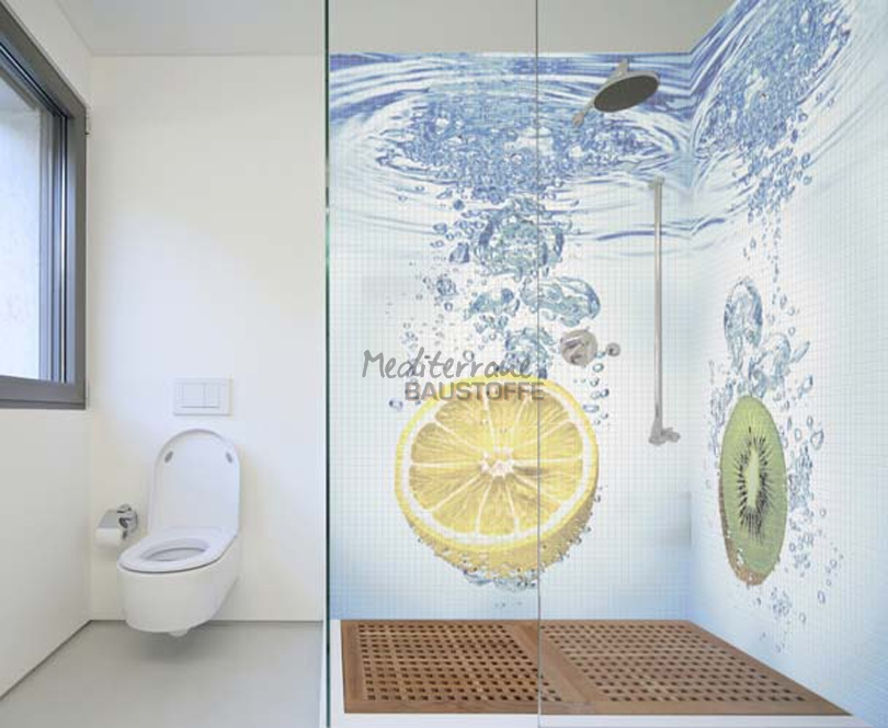 Wandgestaltung im badezimmer  Wandgestaltung mit Mosaikfliesen aus Keramik für das Badezimmer
