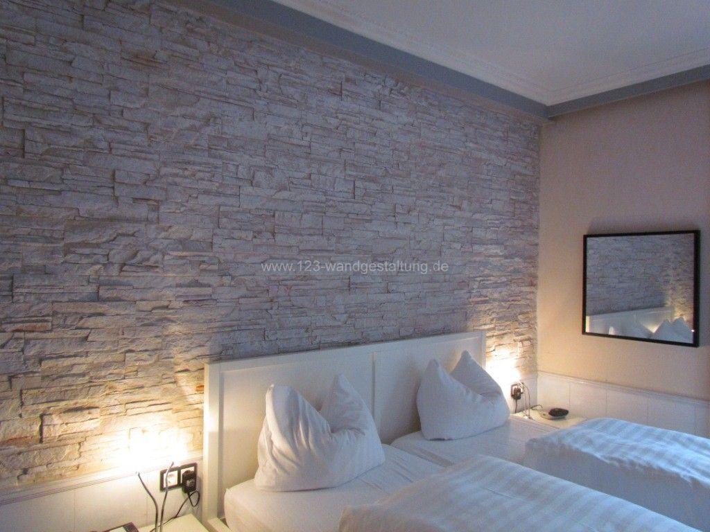 Wohnzimmer mit steintapete – midir