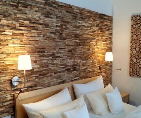 Wandpaneele Memory Eiche für eine rustikale Holzwand im Schlafzimmer