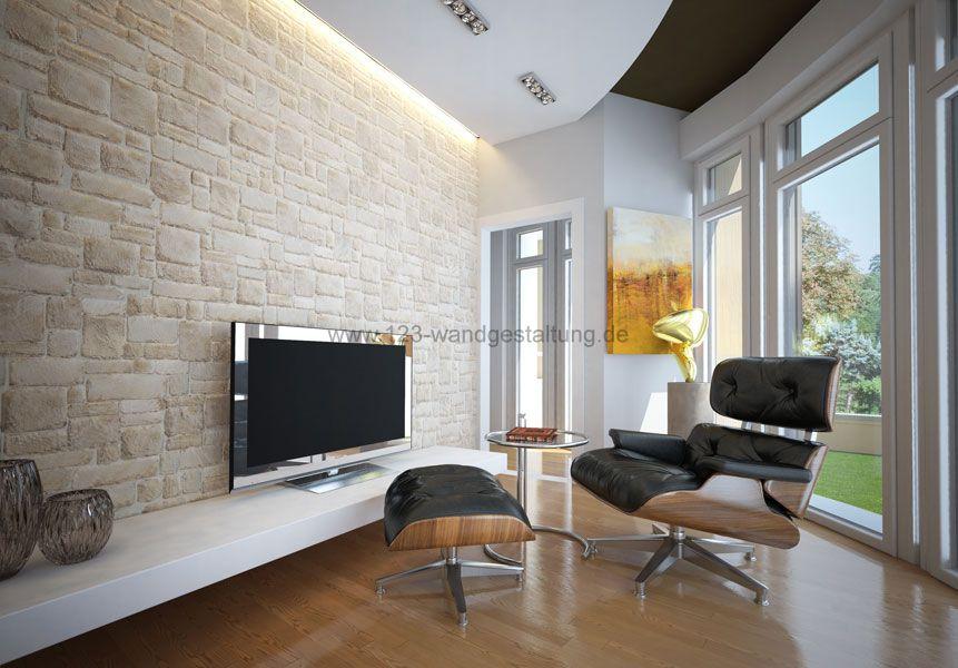 wohnzimmer wandgestaltung steinoptik – Dumss.com
