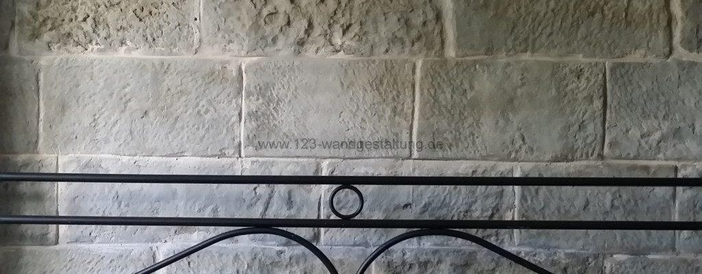 Burgsteinwand als Wandgestaltung im Schlafzimmer