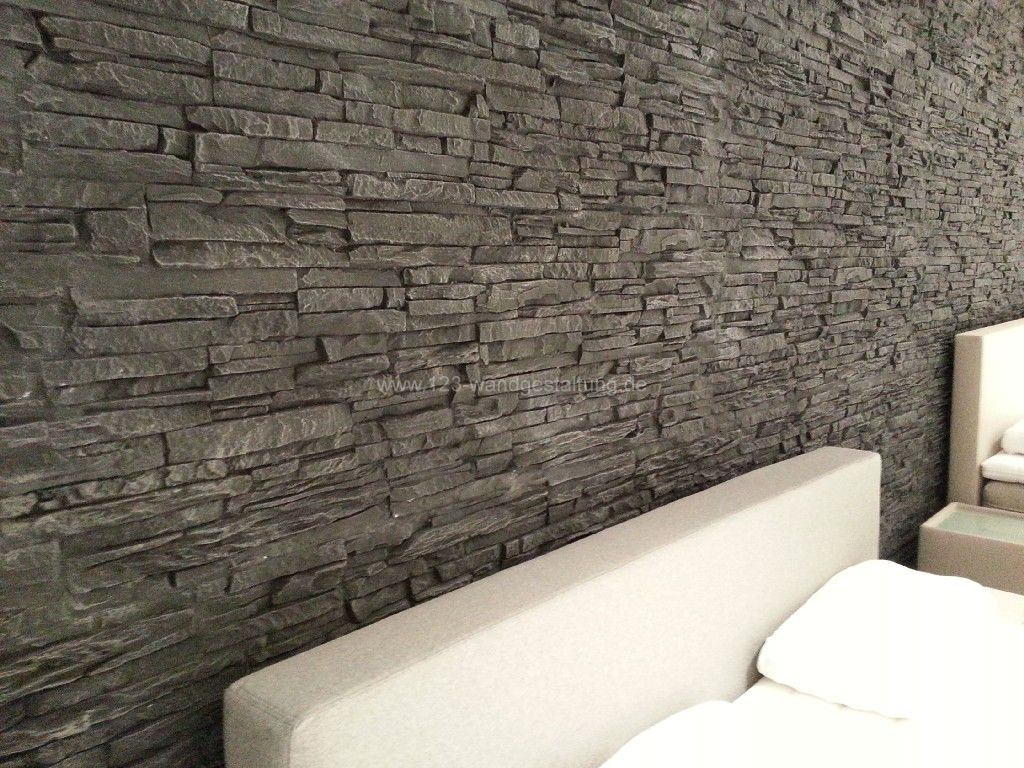 Moderne wandgestaltung in steinoptik im bettenhaus in for Steinoptik paneele