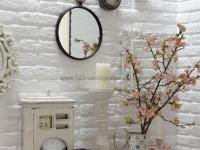 Steinwand mit der Paneele Brooklyn Weiss - Badezimmer