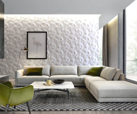 Edle Wandgestaltung mit der Wandpaneele Triangles im Wohnzimmer