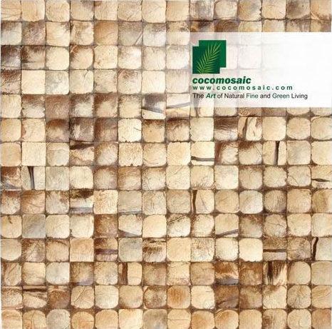 Holzfliesen von Cocomosaic aus der Schale der Kokosnuss in der Farbe Natural Bliss