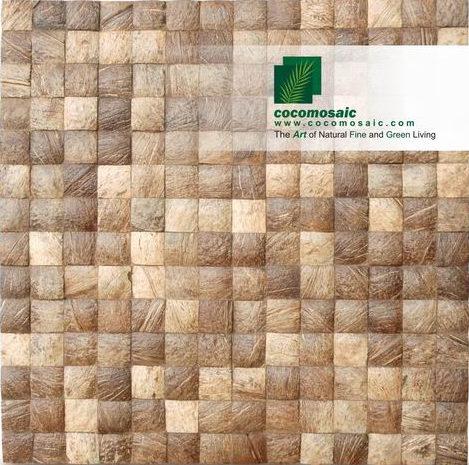 Holzfliesen von Cocomosaic aus der Schale der Kokosnuss in der Farbe Natural Grain