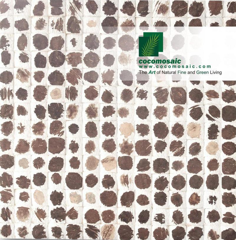 Holzfliesen von Cocomosaic aus der Schale der Kokosnuss in der Farbe White Polkadot