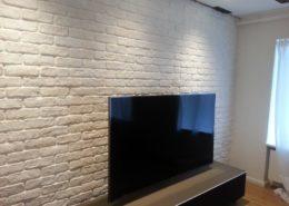 Wandgestaltung in Ziegelsteinoptik im Wohnzimmer