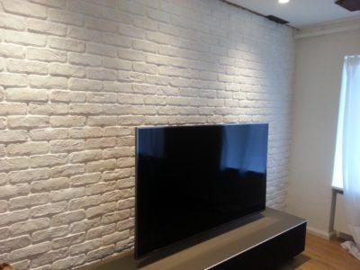 Steinwand - Ziegeloptik Bronx - Old White - Wohnzimmer