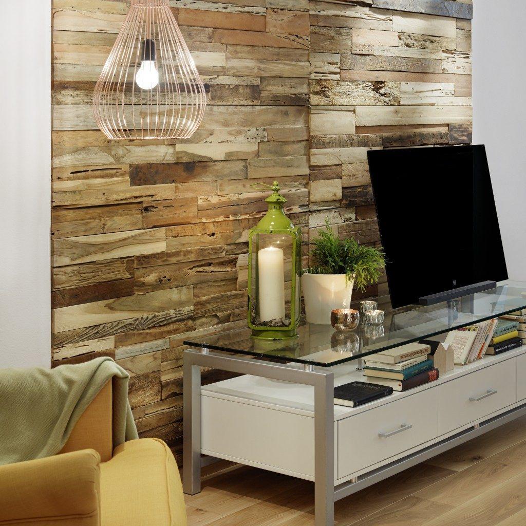 Wandgestaltung mit Holz - Holzpaneelen in verschiedenen Strukturen und Farben